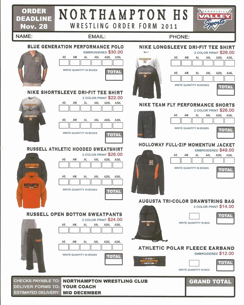 Apparel order form Template Free Inspirational order form Spirit Wear