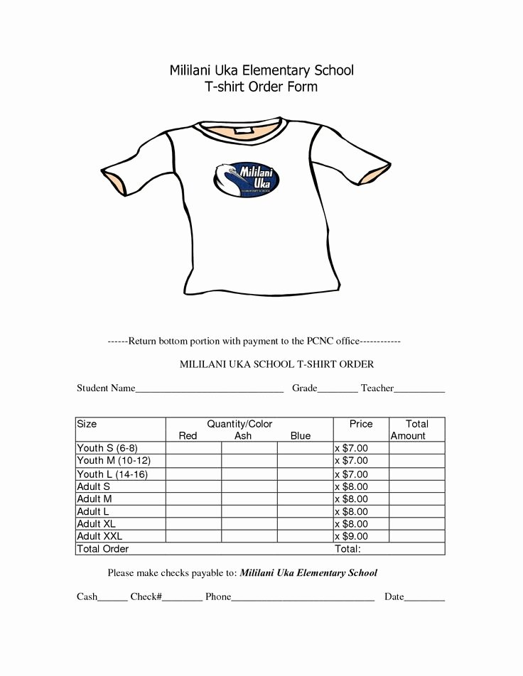 Apparel order form Template Free Unique School T Shirt order form Template Clothes