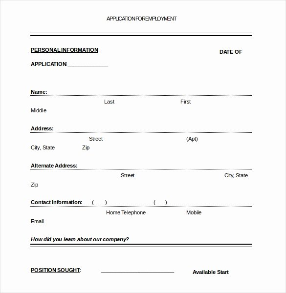 Application form Template Word Best Of Job Application Template – 10 Free Word Pdf Documents