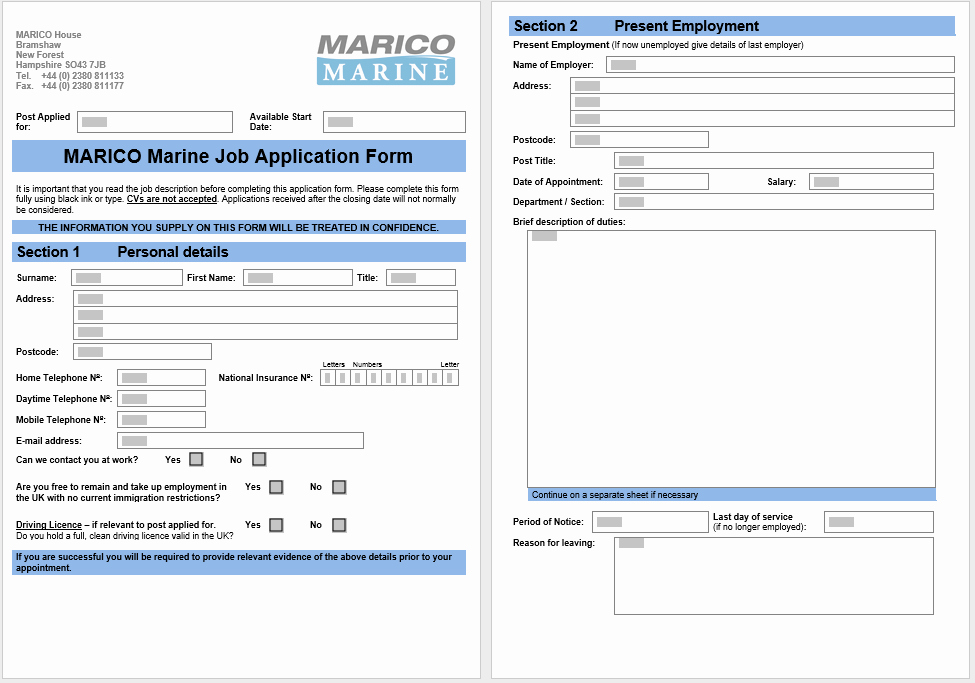 Application form Template Word Fresh 4 Printable Free Job Application form & Templates