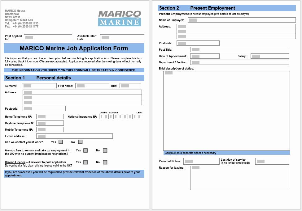 Application form Template Word Fresh 4 Printable Free Job Application form & Templates
