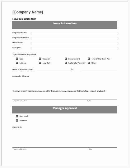 Application form Template Word Inspirational Leave Application form Template Ms Word