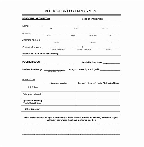 Application form Template Word Lovely 15 Employment Application Templates – Free Sample