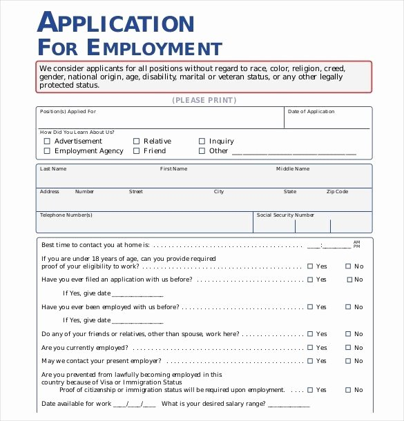 Application form Template Word New Employment Application Template