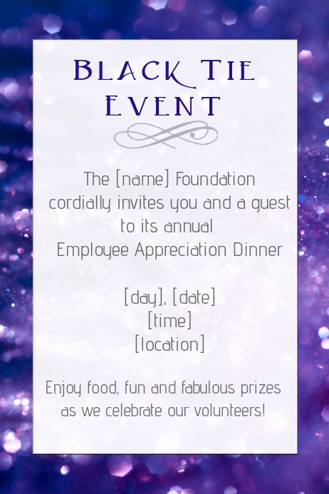 Appreciation Dinner Invitation Template Unique Black Tie Dinner Employee Appreciation Party Template