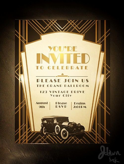 Art Deco Invitation Template Awesome Art Deco Gatsby Party Invitation Design Template Available