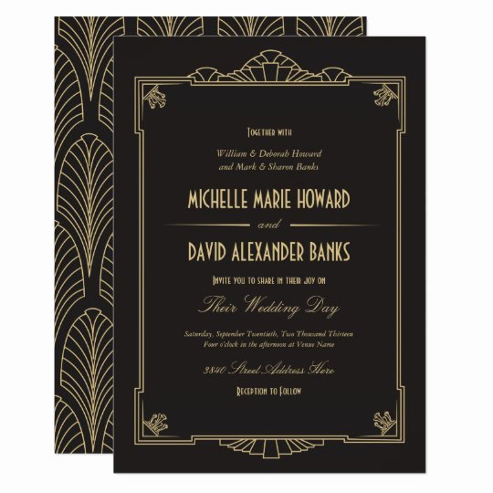 Art Deco Invitation Template Beautiful Art Deco Style Wedding Invitation
