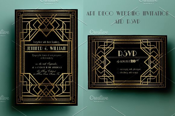 Art Deco Invitation Template Beautiful Art Deco Wedding Invitation and Rsvp Invitation