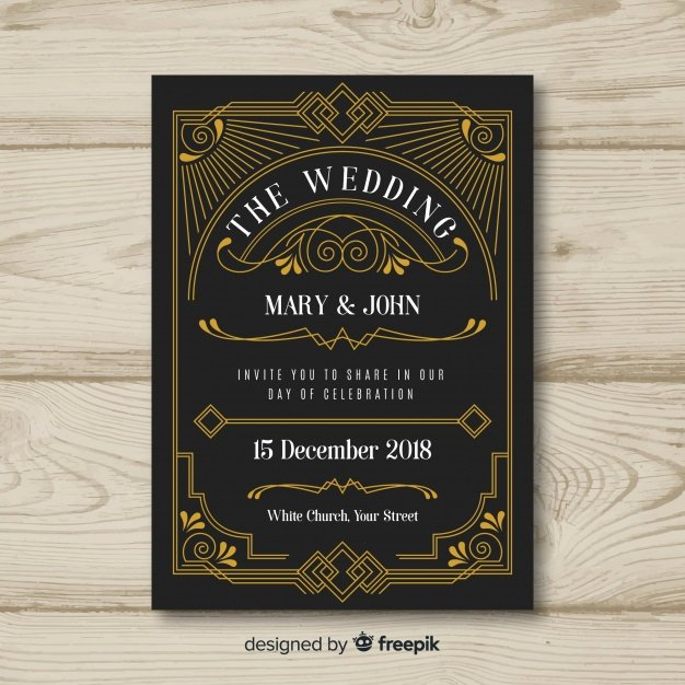 Art Deco Invitation Template Best Of Art Deco Wedding Invitation Template Design Vector