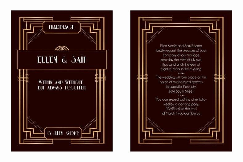 Art Deco Invitation Template Elegant 14 Art Deco Invitation Designs & Templates Psd Ai