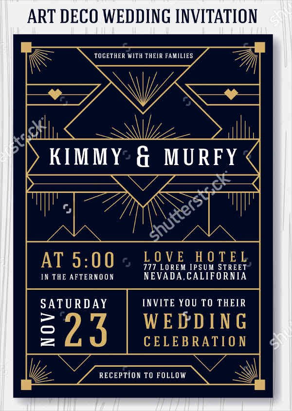 Art Deco Invitation Template Elegant 9 Art Deco Wedding Invitations Psd Ai Eps Word