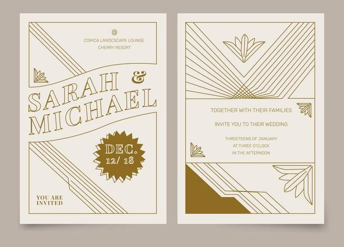 Art Deco Invitation Template Fresh Brown Vintage Art Deco Wedding Invitation Vector Template