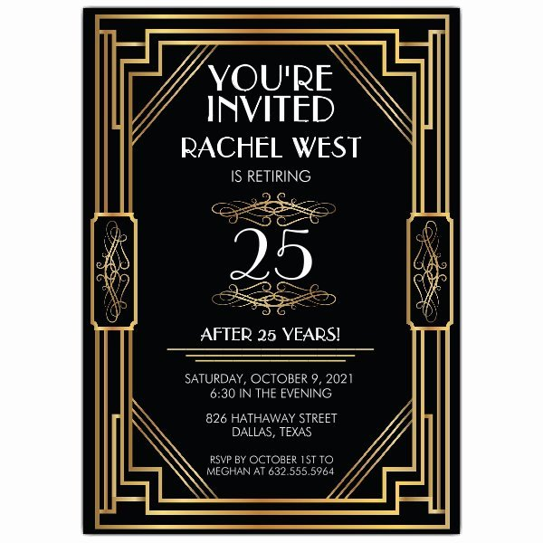 Art Deco Invitation Template Fresh Elaborate Art Deco Frame Retirement Party Invitations