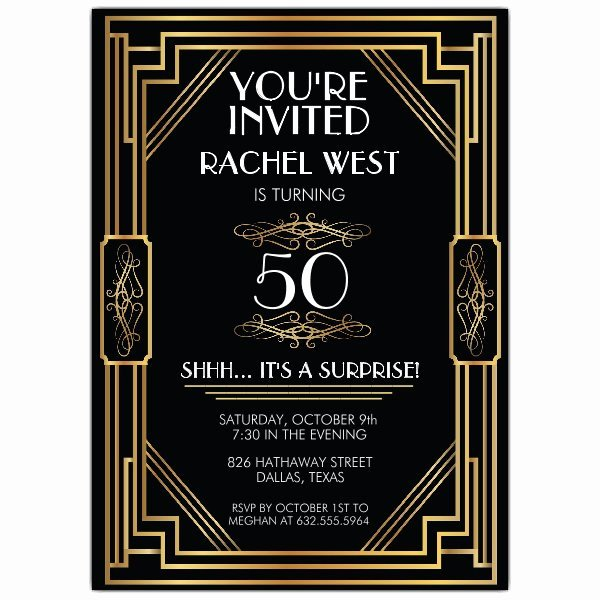 Elaborate Art Deco Frame Any Age Birthday Party Invitations p 605 57 PS681