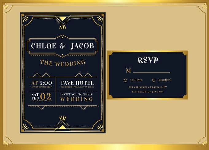 Art Deco Invitation Template Lovely Black Gold Art Deco Wedding Invitation Template Vector