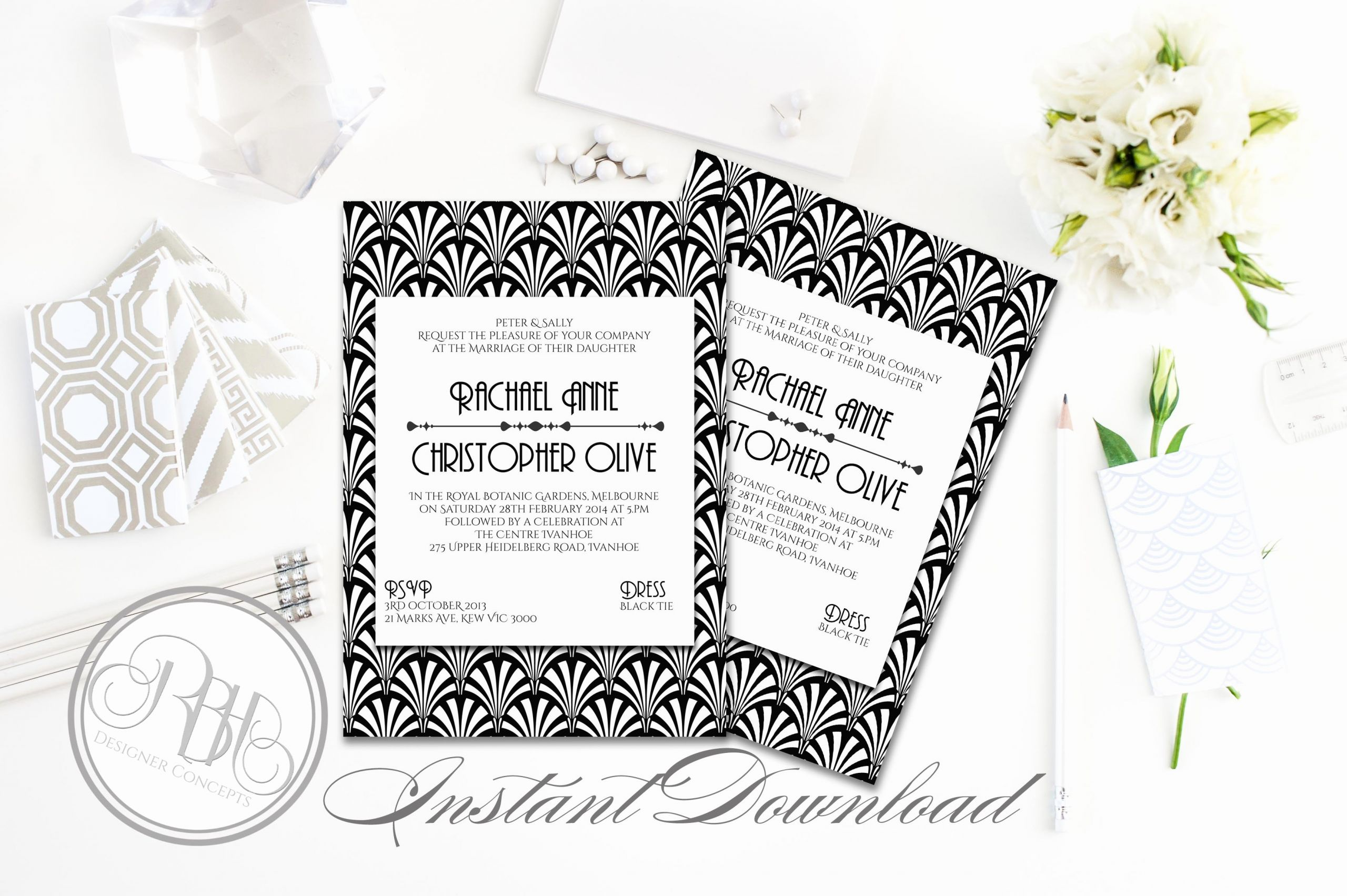 Art Deco Invitation Template Luxury Art Deco Wedding Invitation Sienna Wedding Templates