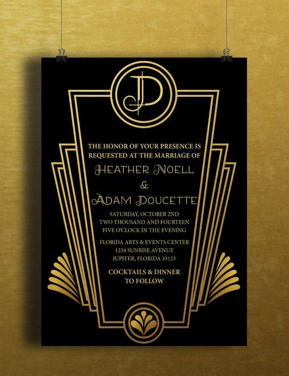 Art Deco Invitation Template New Instant Download Black Gold Art Deco Great Gatsby Vintage