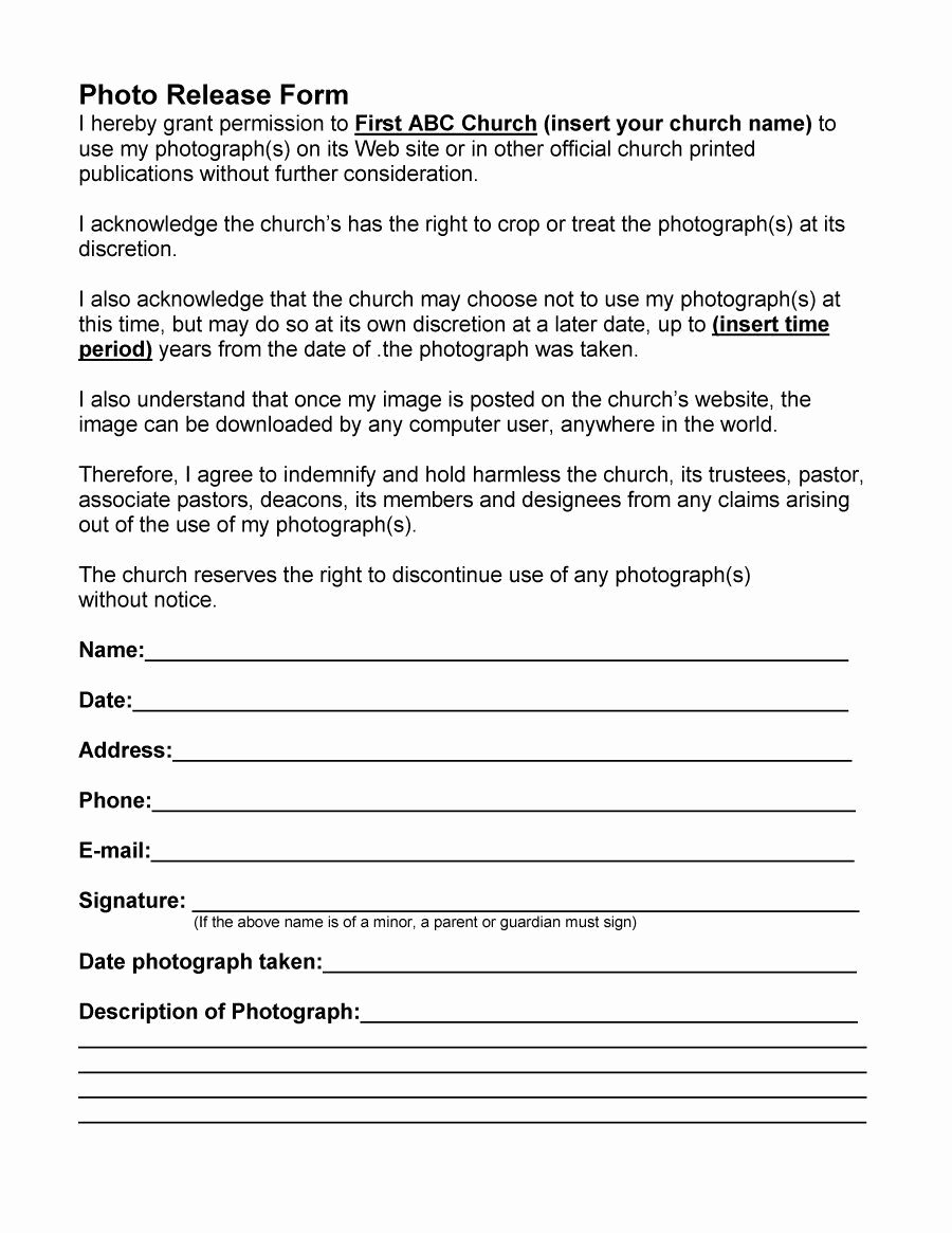 Artwork Release form Template Best Of Photo Release form 25