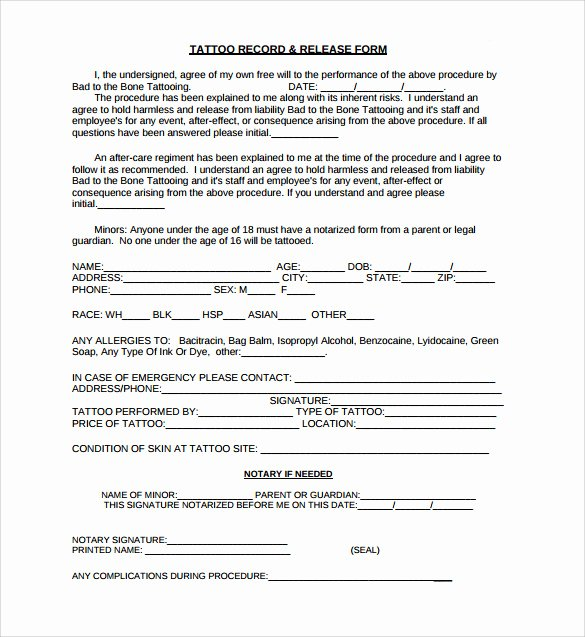Artwork Release form Template Lovely Tattoo Release form 9 Download Free Documents In Pdf