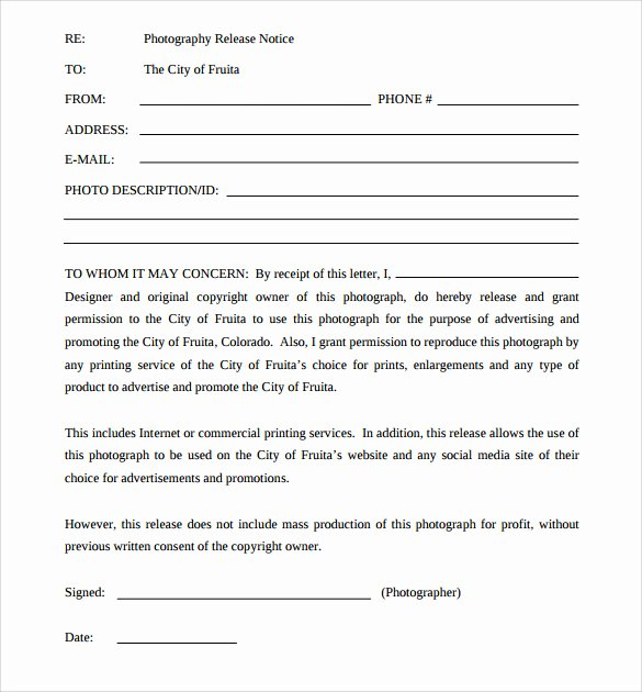 Artwork Release form Template New 7 Print Release forms Pdf