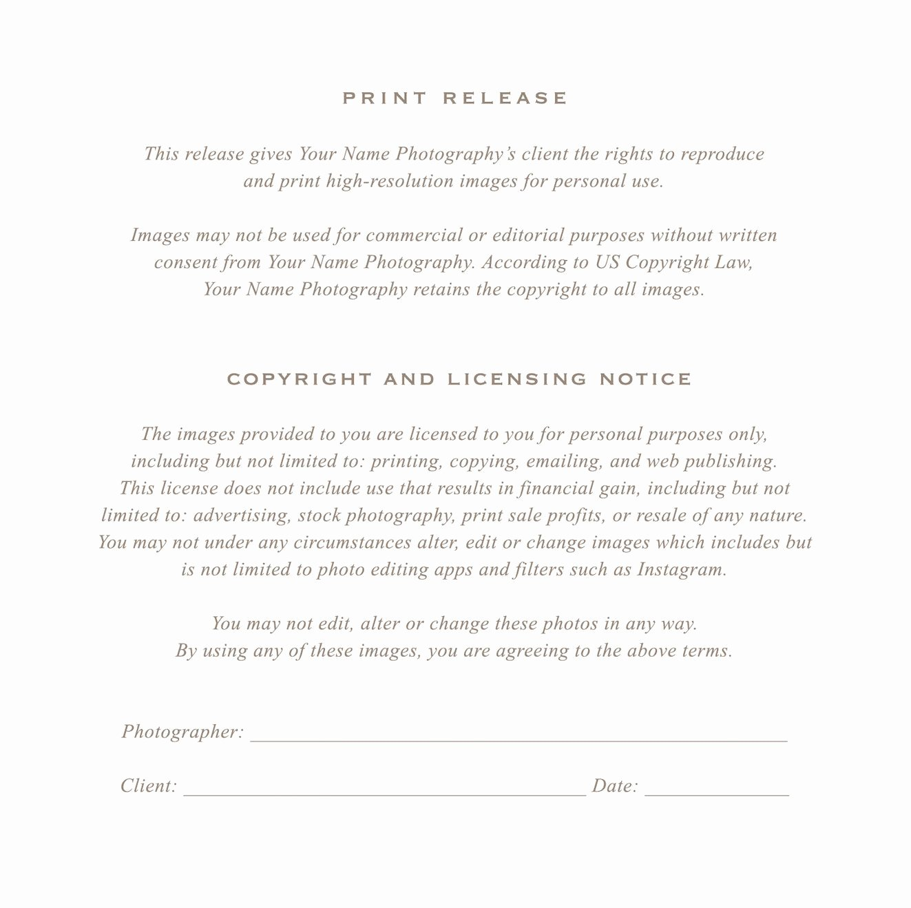 Artwork Release form Template Unique Grapher Print Release form by