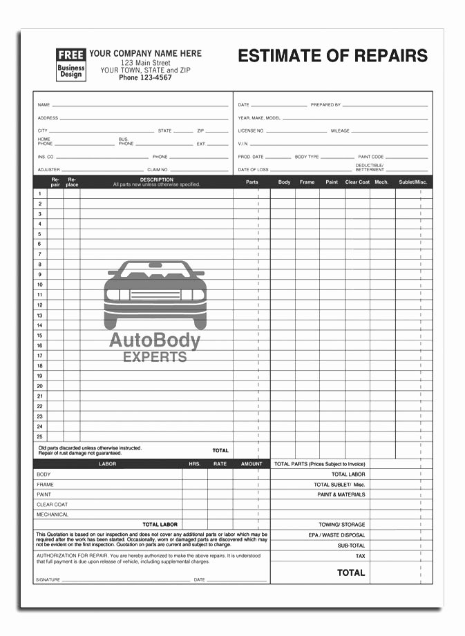 Auto Repair form Template Awesome Auto Work order Template