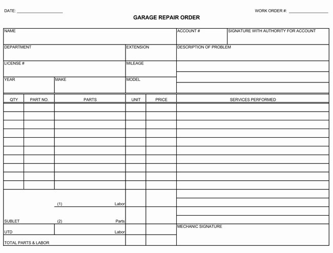 Auto Repair form Template Inspirational Auto Repair Invoice Templates 10 Printable and Fillable