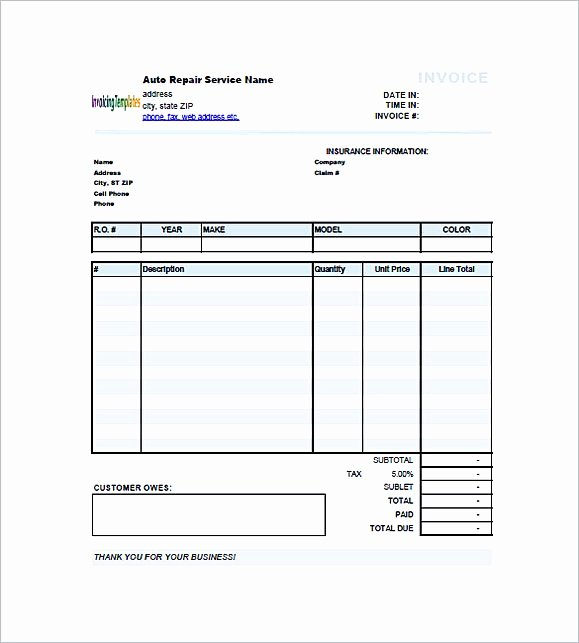 Auto Repair form Template Lovely Auto Repair Invoice Template