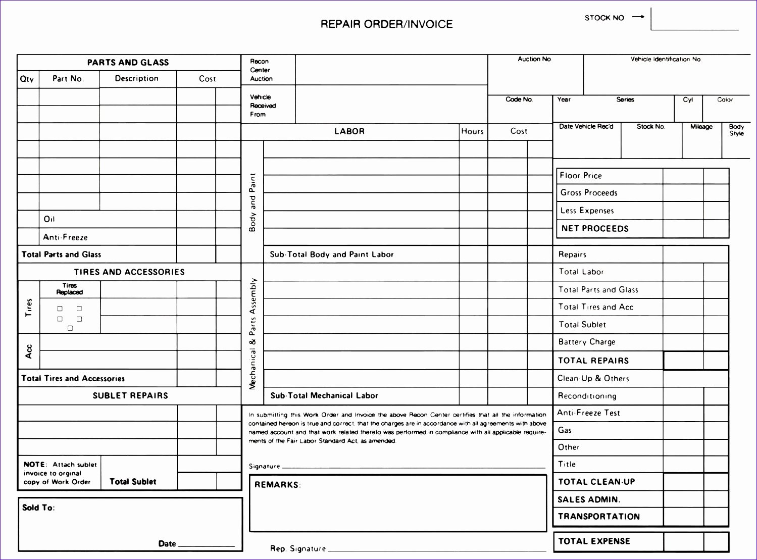 Auto Repair form Template Luxury 6 Free Auto Repair Invoice Template Excel Exceltemplates