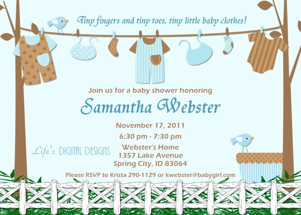 Baby Boy Invitation Template Awesome Baby Shower Invitations for Boy Baby Clothes Blue and Brown