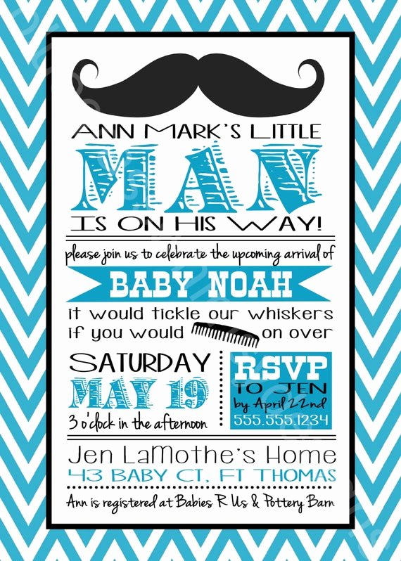 Baby Boy Invitation Template Beautiful Mustache Little Man Baby Shower Invitation for A Baby Boy