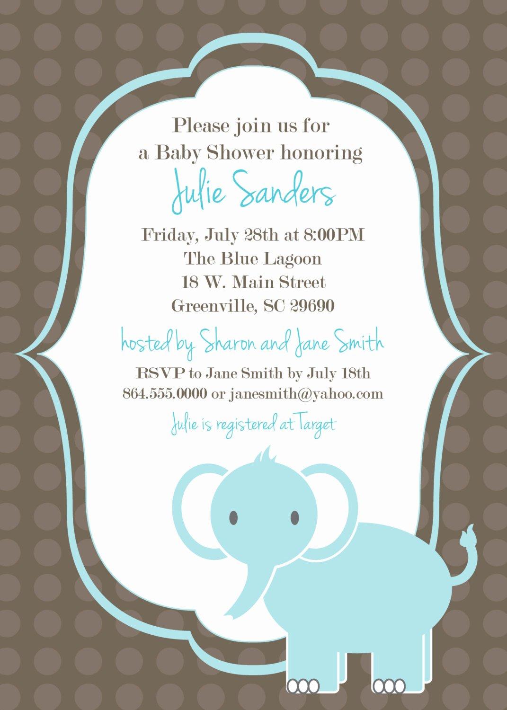 Baby Boy Invitation Template Elegant Printable Baby Shower Invitation Elephant Boy by Ohcreative E