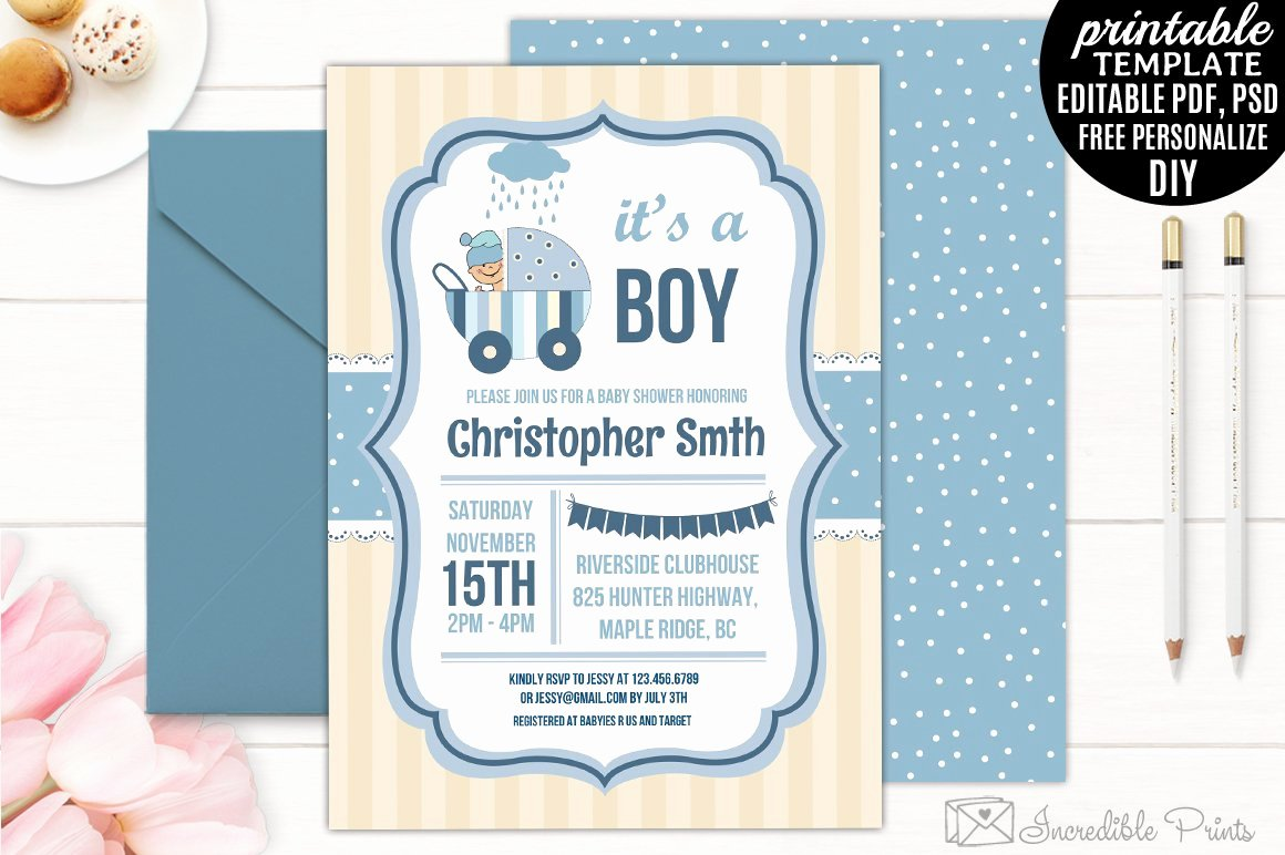 Baby Boy Invitation Template Inspirational Boy Baby Shower Invitation Template Invitation Templates