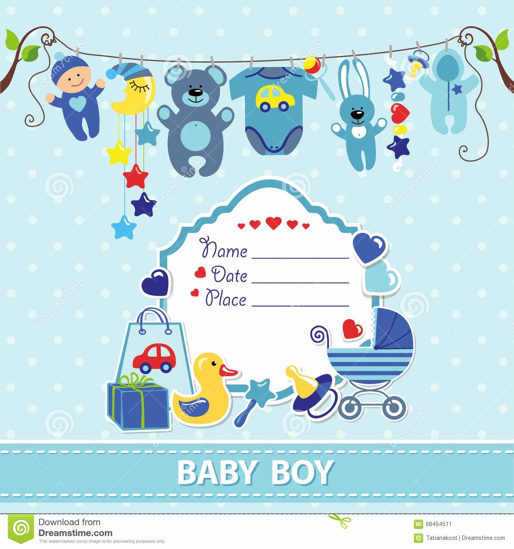 Baby Boy Invitation Template Luxury New Born Baby Boy Card Shower Invitation Template Stock