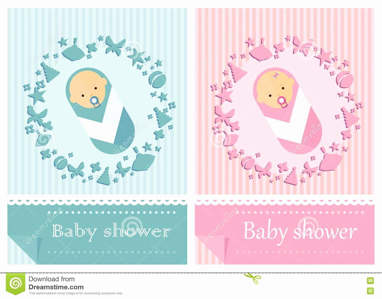 Baby Girl Invitation Template Awesome Baby Shower Card Boys and Girls Stock Vector Image
