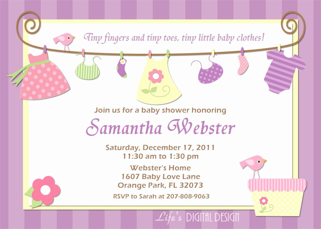 Baby Girl Invitation Template Awesome Baby Shower Invitation Baby Clothes Purple Pink and Yellow