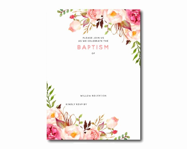 Baby Girl Invitation Template Best Of Free Printable Baptism Floral Invitation Template
