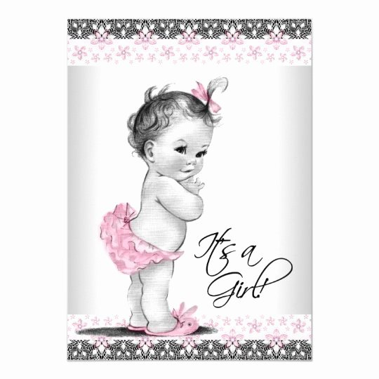 Baby Girl Invitation Template Fresh Vintage Pink and Gray Baby Girl Shower Invitation