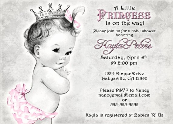 Baby Girl Invitation Template Lovely Vintage Baby Shower Invitation for Girl Princess Crown