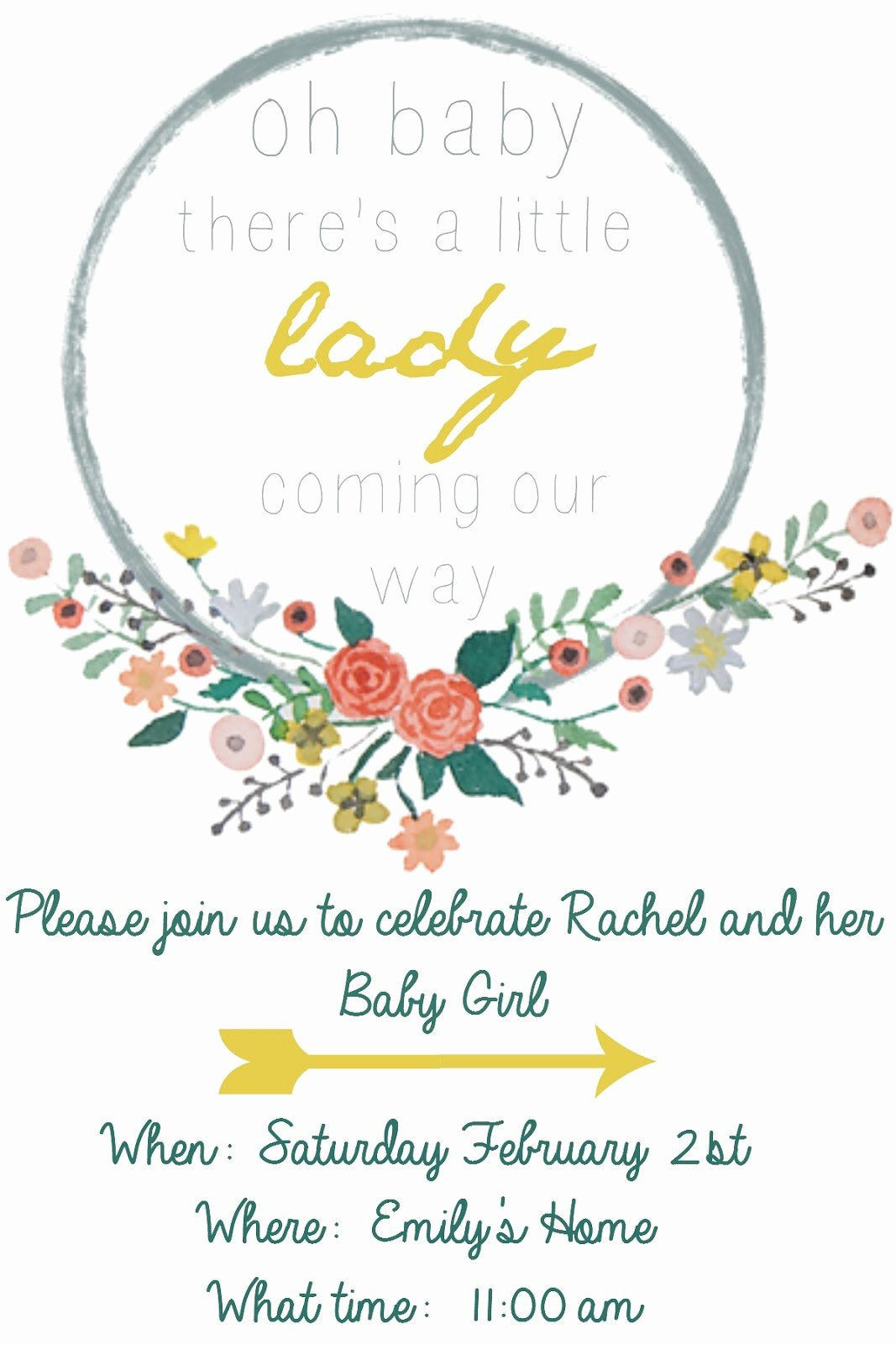 Baby Girl Invitation Template Luxury Emmy In Her Element Free Baby Shower Invitation Template