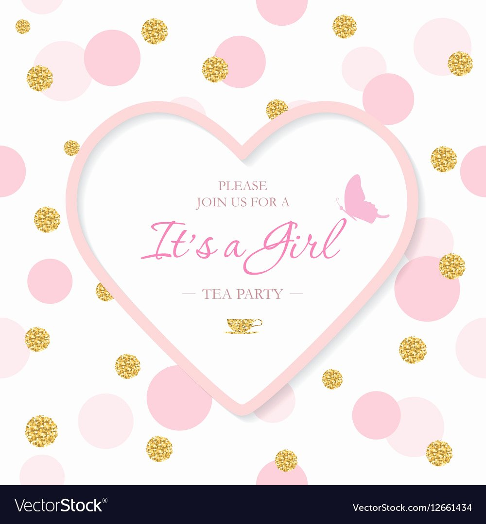 girl baby shower invitation template included vector