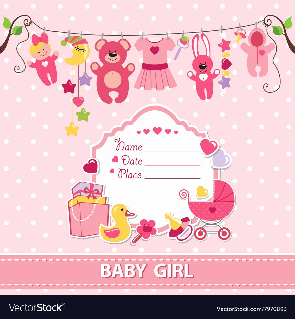 Baby Girl Invitation Template Unique New Born Baby Girl Card Shower Invitation Template