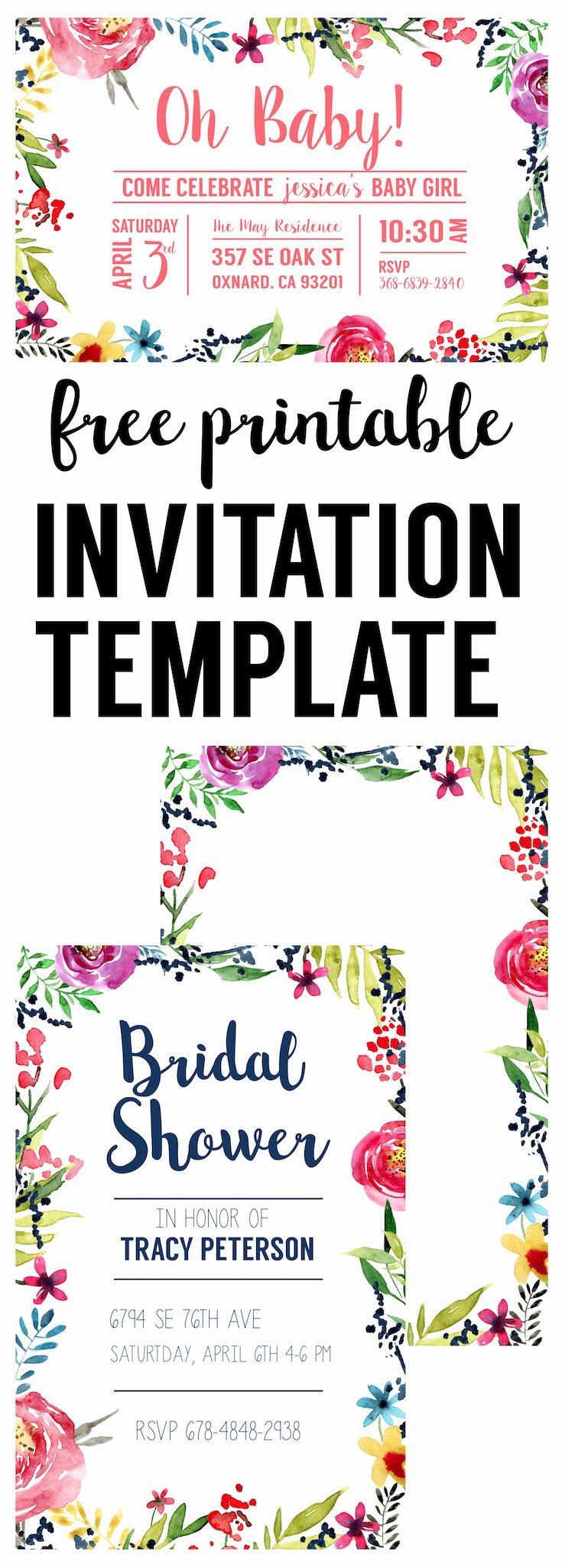Baby Shower Invitation Free Template Awesome Floral Borders Invitations Free Printable Invitation