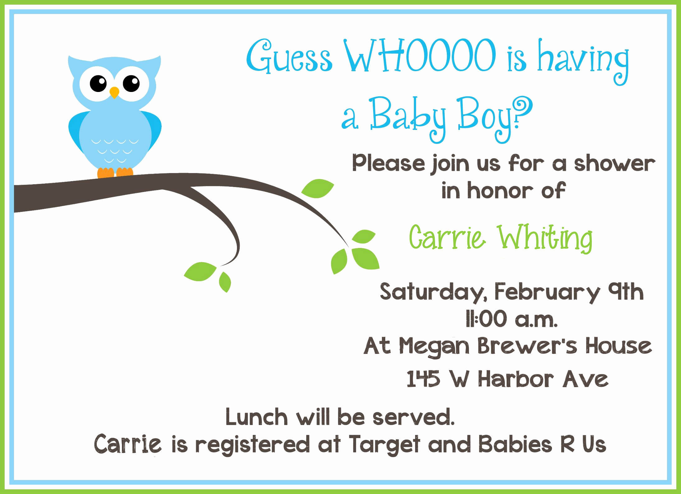Baby Shower Invitation Free Template Beautiful Free Printable Owl Baby Shower Invitations Sample