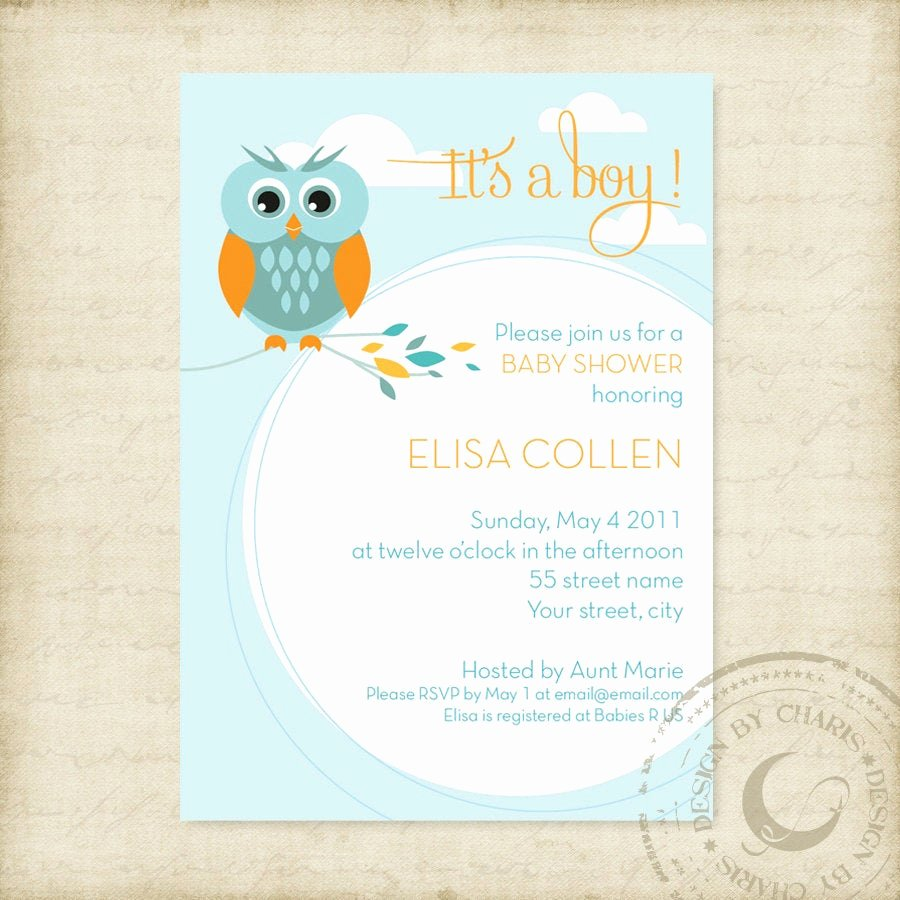 Baby Shower Invitation Free Template Inspirational Baby Shower Invitation Template Owl theme by