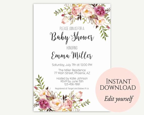 Baby Shower Invitation Template Free Awesome Baby Shower Invitation Template Baby Shower Invite Baby