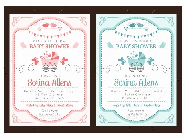 Baby Shower Invitation Template Free Beautiful Free 24 Sample Printable Baby Shower Invitation Templates
