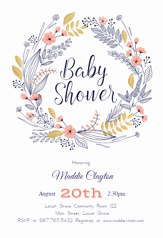 Baby Shower Invitation Template Free Beautiful Friendship Wreath Baby Shower Invitation Template Free