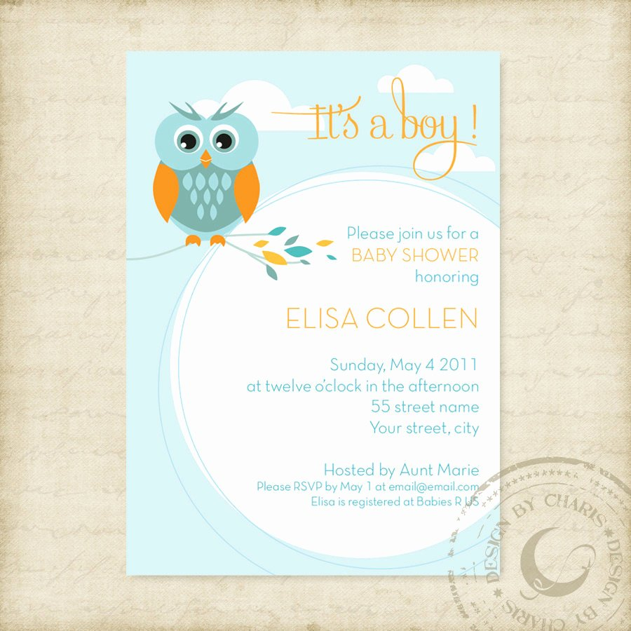 Baby Shower Invitation Template Free Elegant Baby Shower Invitation Template Owl theme Boy or Girl
