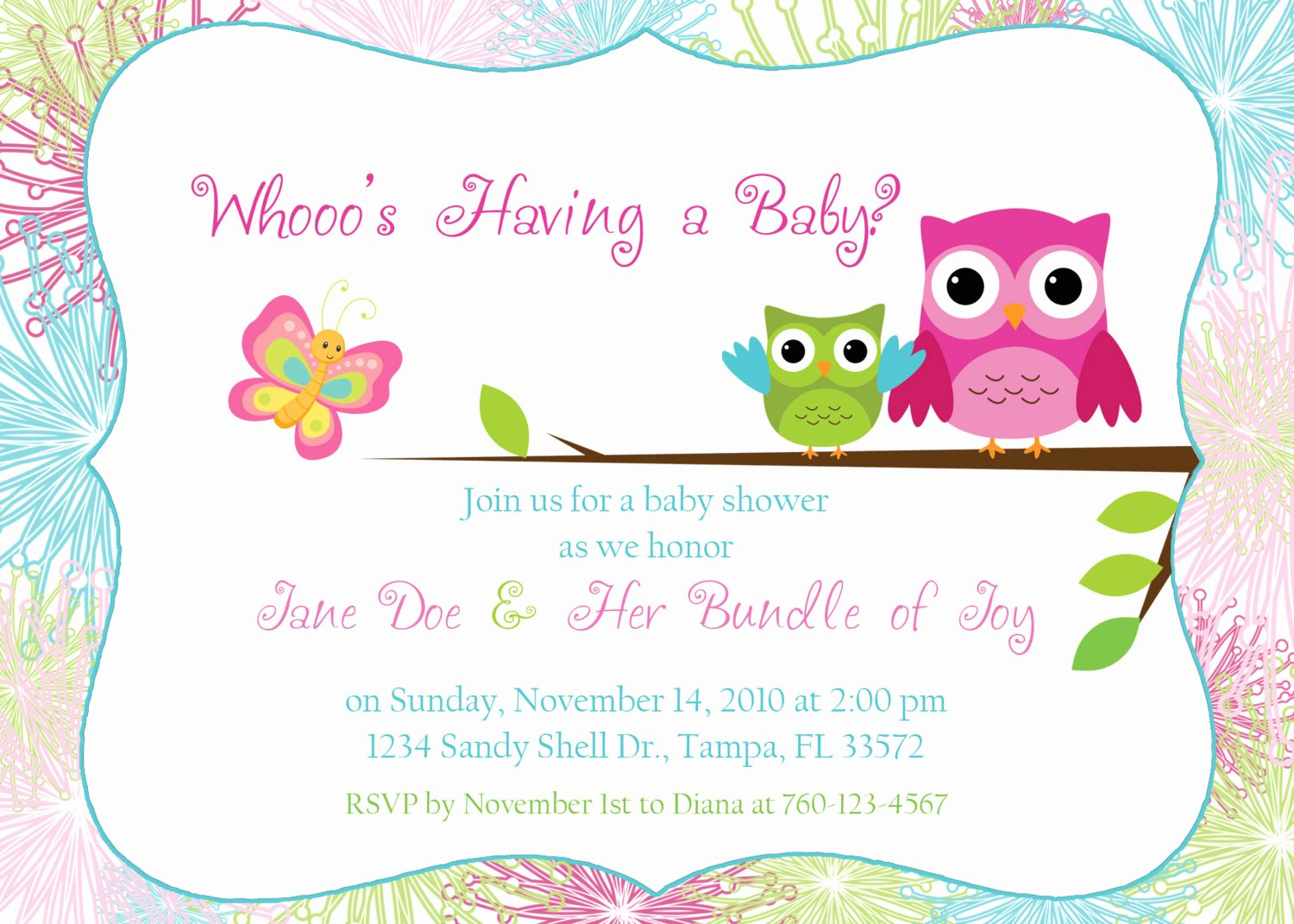Baby Shower Invitation Template Free Lovely Owl Baby Shower Invitation Digital Image